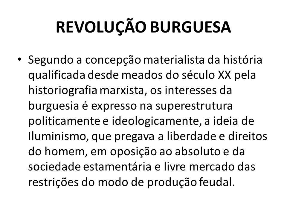 REVOLUÇÃO BURGUESA Segundo a concepção materialista da história qualificada desde meados do século XX pela historiografia marxista, os interesses da b