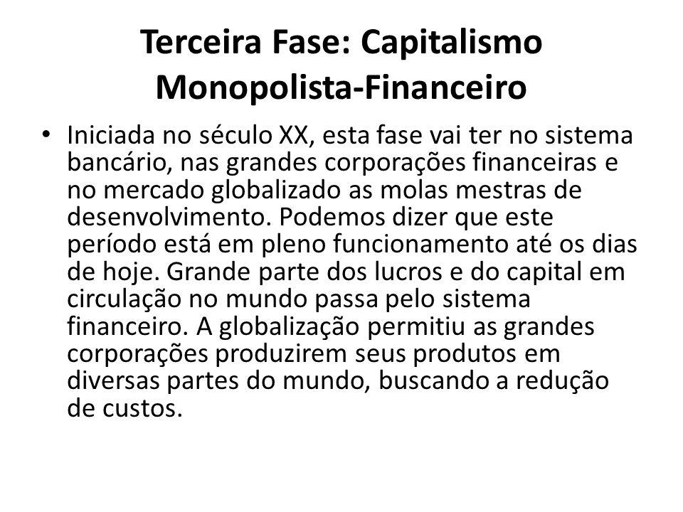Terceira Fase: Capitalismo Monopolista-Financeiro Iniciada no século XX, esta fase vai ter no sistema bancário, nas grandes corporações financeiras e