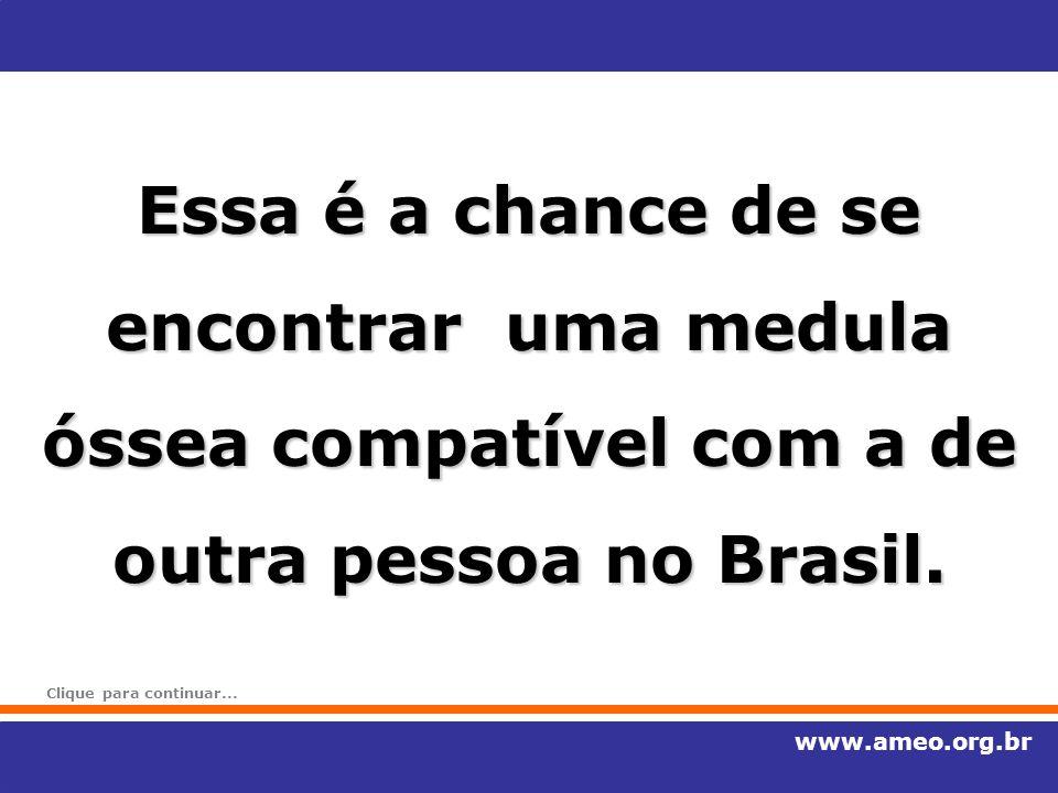Essa é a chance de se encontrar uma medula óssea compatível com a de outra pessoa no Brasil. www.ameo.org.br Clique para continuar...
