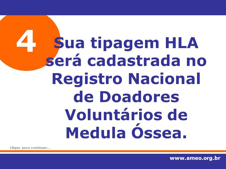 4 Sua tipagem HLA será cadastrada no Registro Nacional de Doadores Voluntários de Medula Óssea. www.ameo.org.br Clique para continuar...