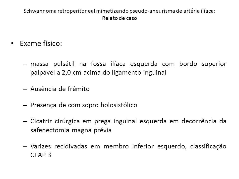DUPLEX SCAN COLOR VENOSO DOS MMII Laudo: Imagem hipoecogênica em região inguinal esquerda com 2,9 x 4,2 cm de diâmetro: hematoma.
