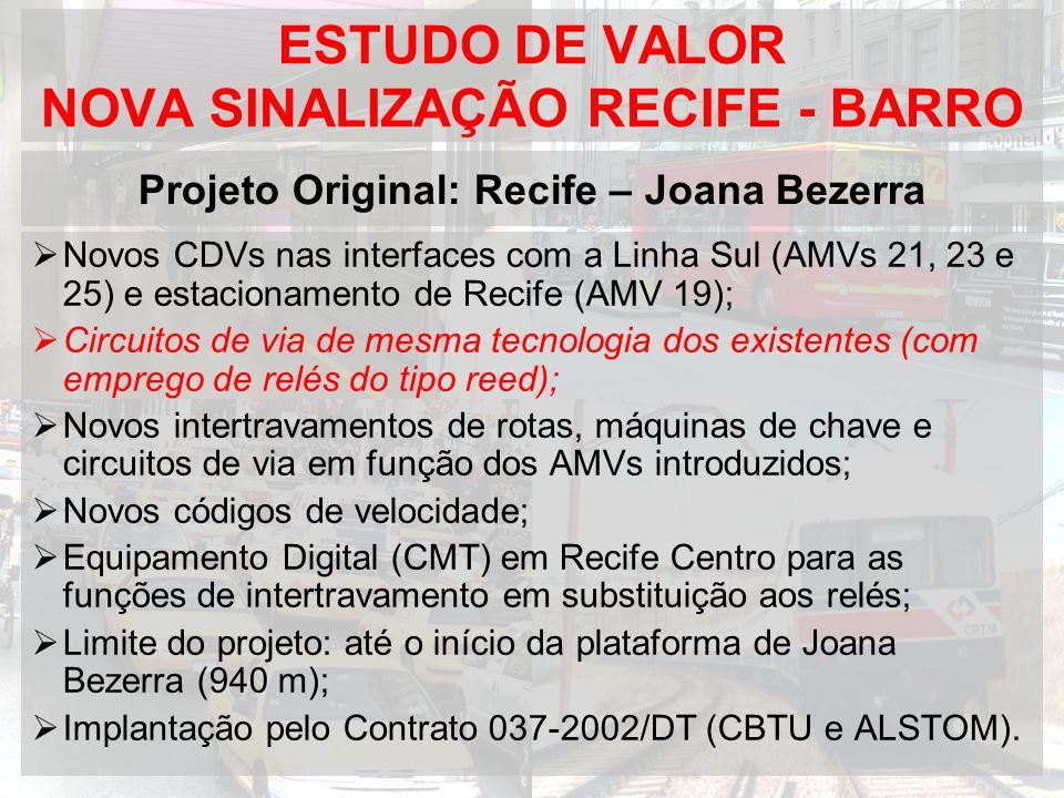 ESTUDO DE VALOR NOVA SINALIZAÇÃO RECIFE - BARRO Novos CDVs nas interfaces com a Linha Sul (AMVs 21, 23 e 25) e estacionamento de Recife (AMV 19); Circ