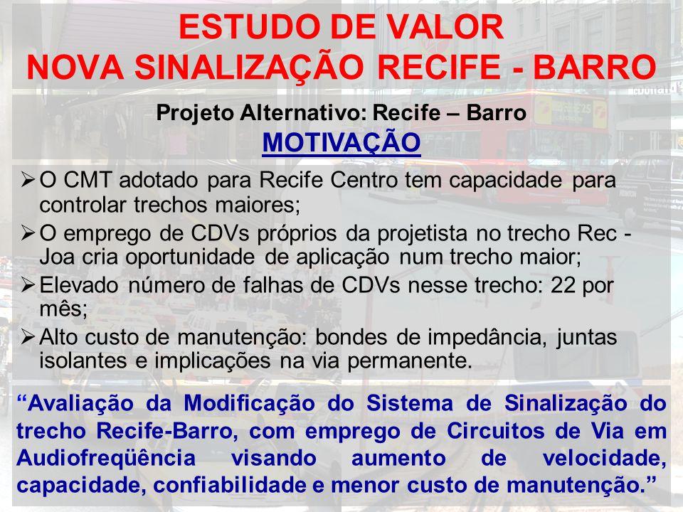 ESTUDO DE VALOR NOVA SINALIZAÇÃO RECIFE - BARRO O CMT adotado para Recife Centro tem capacidade para controlar trechos maiores; O emprego de CDVs próp