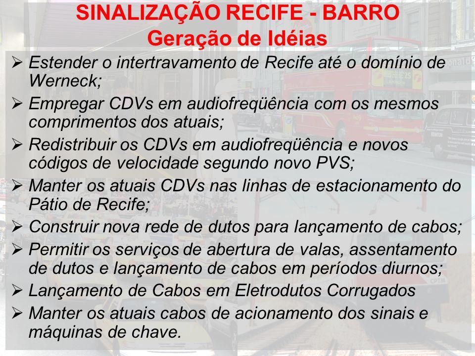 SINALIZAÇÃO RECIFE - BARRO Geração de Idéias Estender o intertravamento de Recife até o domínio de Werneck; Empregar CDVs em audiofreqüência com os mesmos comprimentos dos atuais; Redistribuir os CDVs em audiofreqüência e novos códigos de velocidade segundo novo PVS; Manter os atuais CDVs nas linhas de estacionamento do Pátio de Recife; Construir nova rede de dutos para lançamento de cabos; Permitir os serviços de abertura de valas, assentamento de dutos e lançamento de cabos em períodos diurnos; Lançamento de Cabos em Eletrodutos Corrugados Manter os atuais cabos de acionamento dos sinais e máquinas de chave.