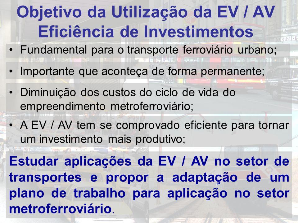Objetivo da Utilização da EV / AV Eficiência de Investimentos Fundamental para o transporte ferroviário urbano; Importante que aconteça de forma permanente; Diminuição dos custos do ciclo de vida do empreendimento metroferroviário; A EV / AV tem se comprovado eficiente para tornar um investimento mais produtivo; Estudar aplicações da EV / AV no setor de transportes e propor a adaptação de um plano de trabalho para aplicação no setor metroferroviário.