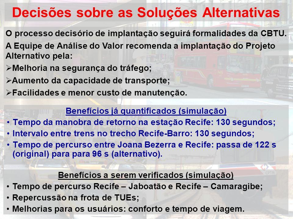 Decisões sobre as Soluções Alternativas Benefícios já quantificados (simulação) Tempo da manobra de retorno na estação Recife: 130 segundos; Intervalo