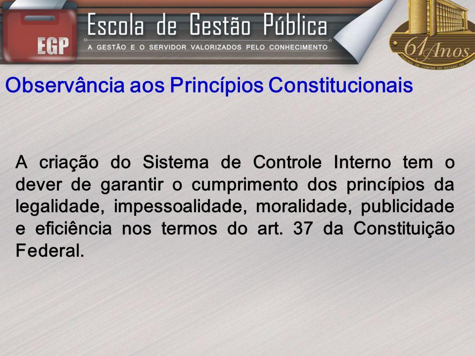 Observância aos Princípios Constitucionais A criação do Sistema de Controle Interno tem o dever de garantir o cumprimento dos princípios da legalidade