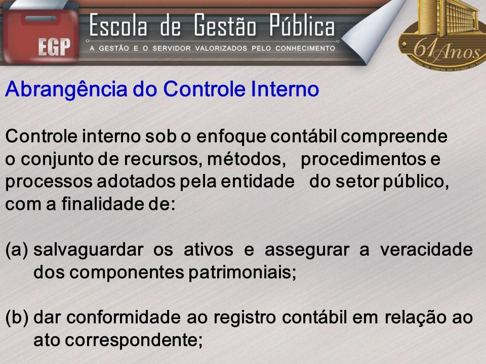 Abrangência do Controle Interno Controle interno sob o enfoque contábil compreende o conjunto de recursos, métodos, procedimentos e processos adotados