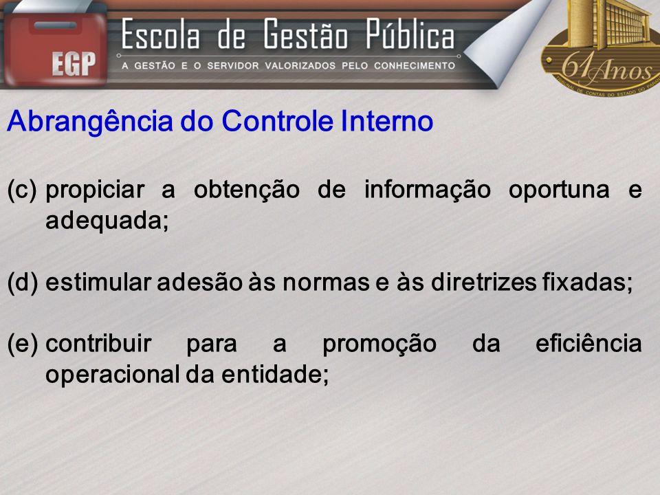 Abrangência do Controle Interno (c)propiciar a obtenção de informação oportuna e adequada; (d)estimular adesão às normas e às diretrizes fixadas; (e)c