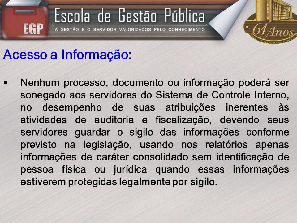 Acesso a Informação: Nenhum processo, documento ou informação poderá ser sonegado aos servidores do Sistema de Controle Interno, no desempenho de suas