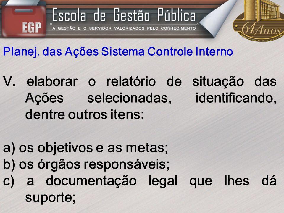 Planej. das Ações Sistema Controle Interno V. elaborar o relatório de situação das Ações selecionadas, identificando, dentre outros itens: a) os objet