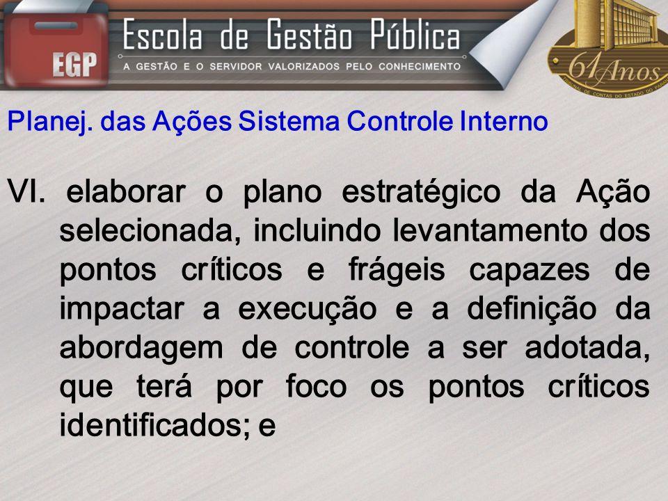 Planej. das Ações Sistema Controle Interno VI. elaborar o plano estratégico da Ação selecionada, incluindo levantamento dos pontos críticos e frágeis