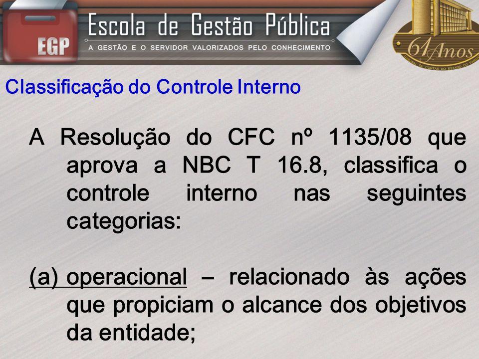 Classificação do Controle Interno A Resolução do CFC nº 1135/08 que aprova a NBC T 16.8, classifica o controle interno nas seguintes categorias: (a)op