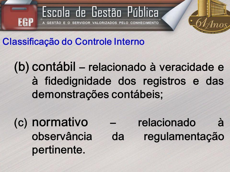 Classificação do Controle Interno (b)contábil – relacionado à veracidade e à fidedignidade dos registros e das demonstrações contábeis; (c) normativo