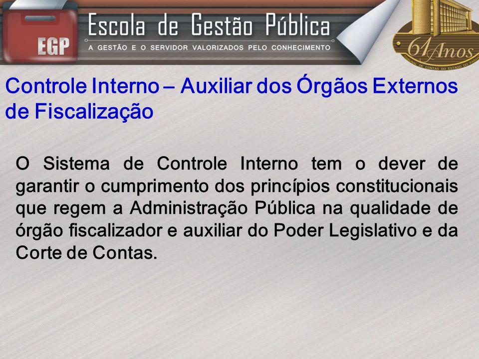 Controle Interno – Auxiliar dos Órgãos Externos de Fiscalização O Sistema de Controle Interno tem o dever de garantir o cumprimento dos princípios con