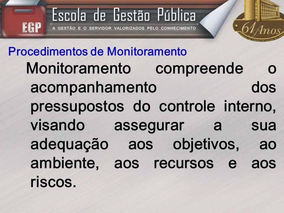Procedimentos de Monitoramento Monitoramento compreende o acompanhamento dos pressupostos do controle interno, visando assegurar a sua adequação aos o