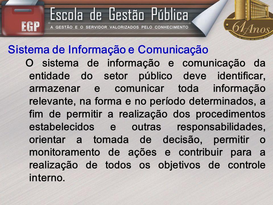 Sistema de Informação e Comunicação O sistema de informação e comunicação da entidade do setor público deve identificar, armazenar e comunicar toda in