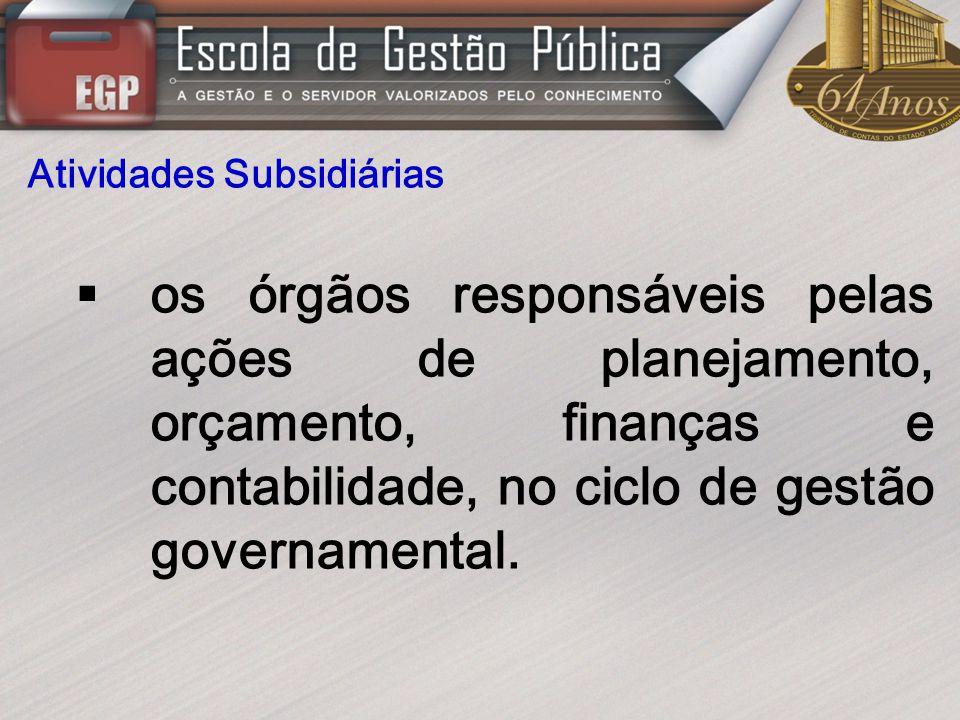 Atividades Subsidiárias os órgãos responsáveis pelas ações de planejamento, orçamento, finanças e contabilidade, no ciclo de gestão governamental.