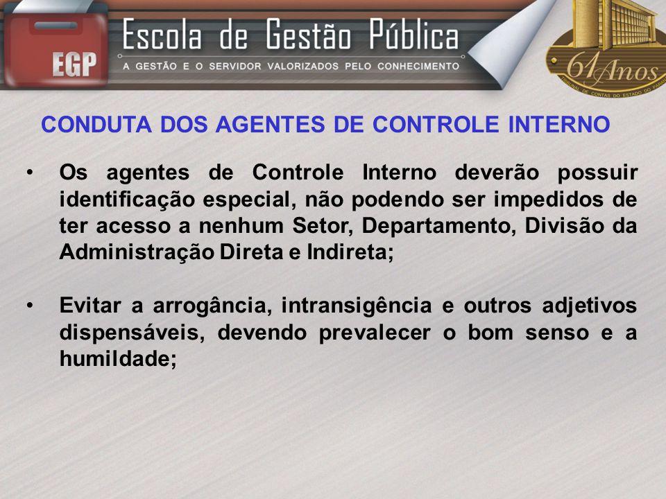 CONDUTA DOS AGENTES DE CONTROLE INTERNO Os agentes de Controle Interno deverão possuir identificação especial, não podendo ser impedidos de ter acesso
