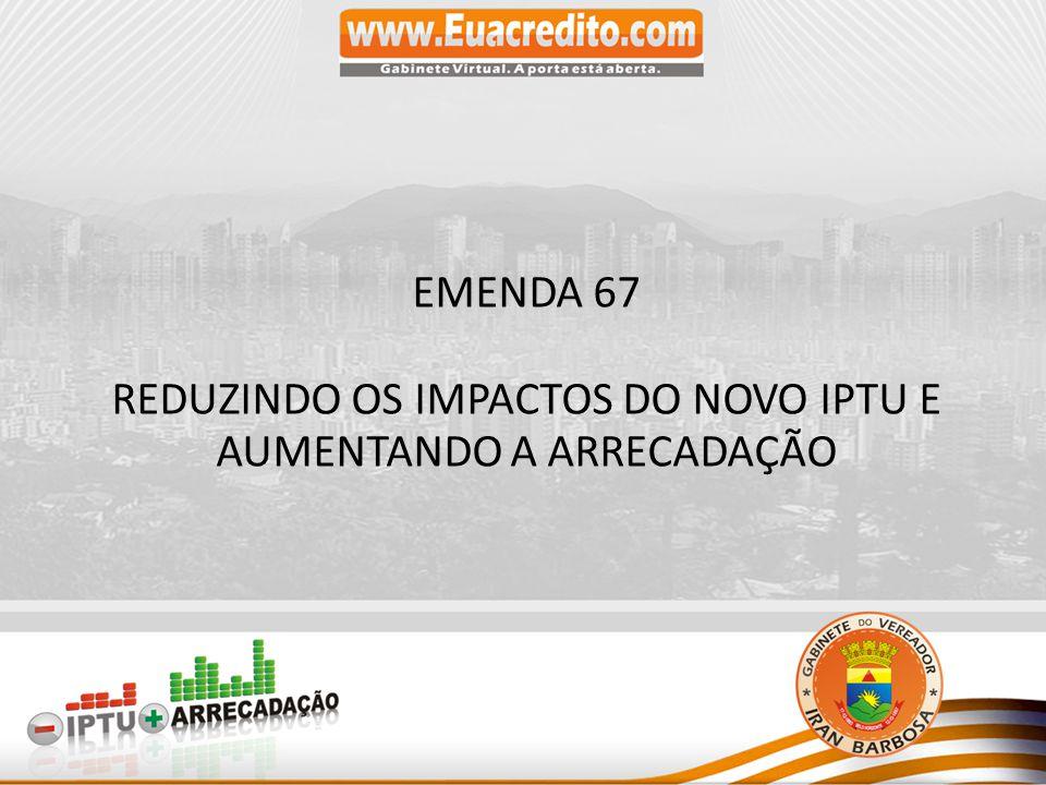 EMENDA 67 REDUZINDO OS IMPACTOS DO NOVO IPTU E AUMENTANDO A ARRECADAÇÃO