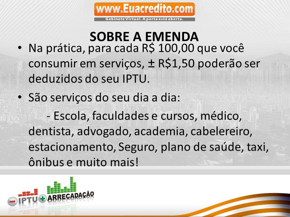 Na prática, para cada R$ 100,00 que você consumir em serviços, ± R$1,50 poderão ser deduzidos do seu IPTU.