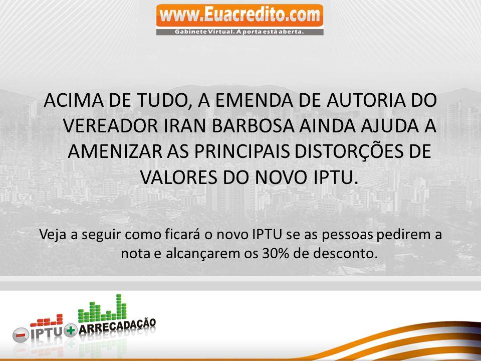 ACIMA DE TUDO, A EMENDA DE AUTORIA DO VEREADOR IRAN BARBOSA AINDA AJUDA A AMENIZAR AS PRINCIPAIS DISTORÇÕES DE VALORES DO NOVO IPTU.