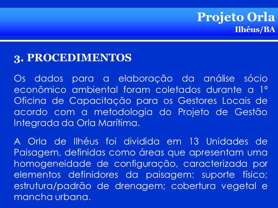 Projeto Orla Ilhéus/BA 3. PROCEDIMENTOS Os dados para a elaboração da análise sócio econômico ambiental foram coletados durante a 1ª Oficina de Capaci