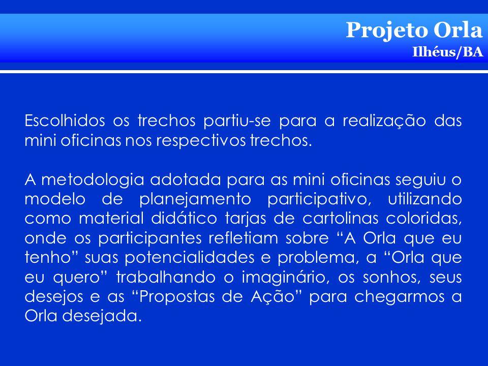 Projeto Orla Ilhéus/BA Escolhidos os trechos partiu-se para a realização das mini oficinas nos respectivos trechos. A metodologia adotada para as mini