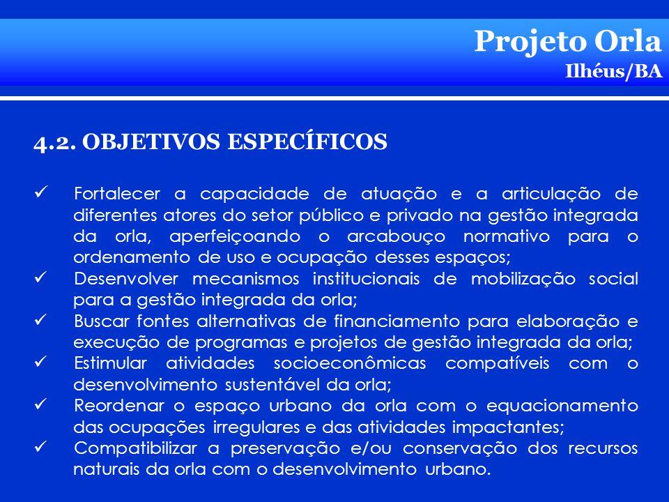 Projeto Orla Ilhéus/BA 4.2. OBJETIVOS ESPECÍFICOS Fortalecer a capacidade de atuação e a articulação de diferentes atores do setor público e privado n