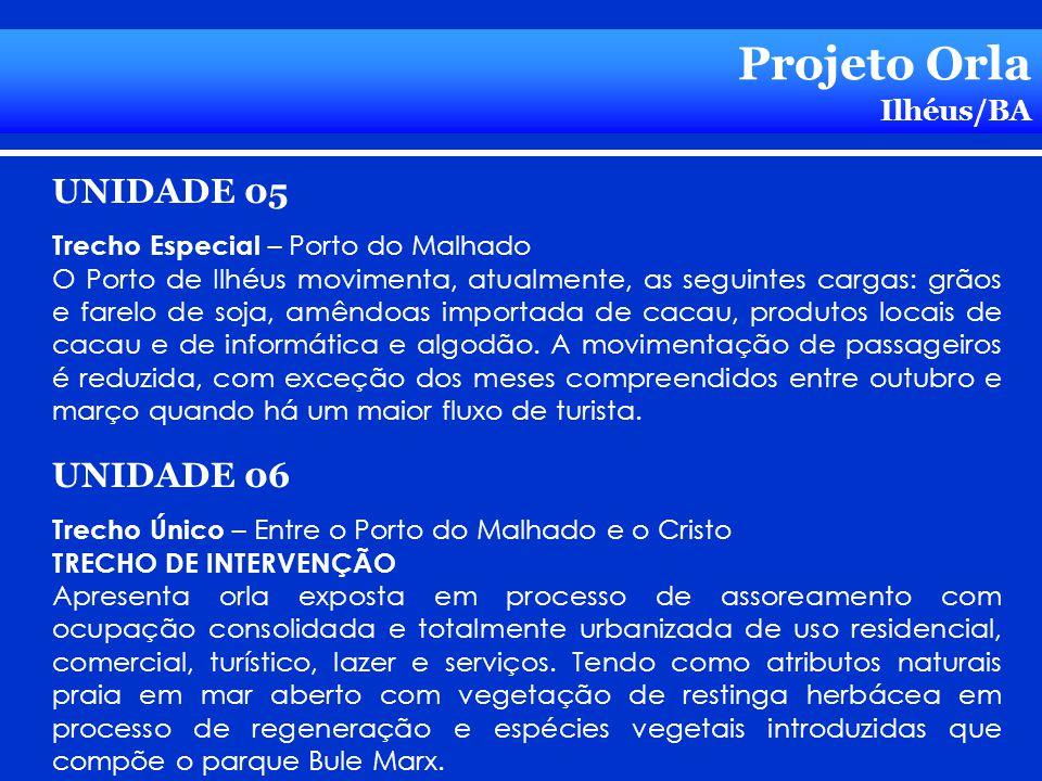 Projeto Orla Ilhéus/BA UNIDADE 05 Trecho Especial – Porto do Malhado O Porto de Ilhéus movimenta, atualmente, as seguintes cargas: grãos e farelo de s