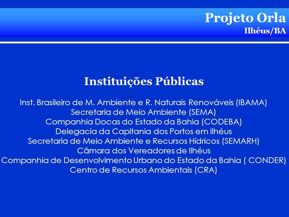 Projeto Orla Ilhéus/BA Instituições Públicas Inst. Brasileiro de M. Ambiente e R. Naturais Renováveis (IBAMA) Secretaria de Meio Ambiente (SEMA) Compa