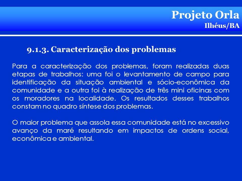 Projeto Orla Ilhéus/BA 9.1.3. Caracterização dos problemas Para a caracterização dos problemas, foram realizadas duas etapas de trabalhos: uma foi o l
