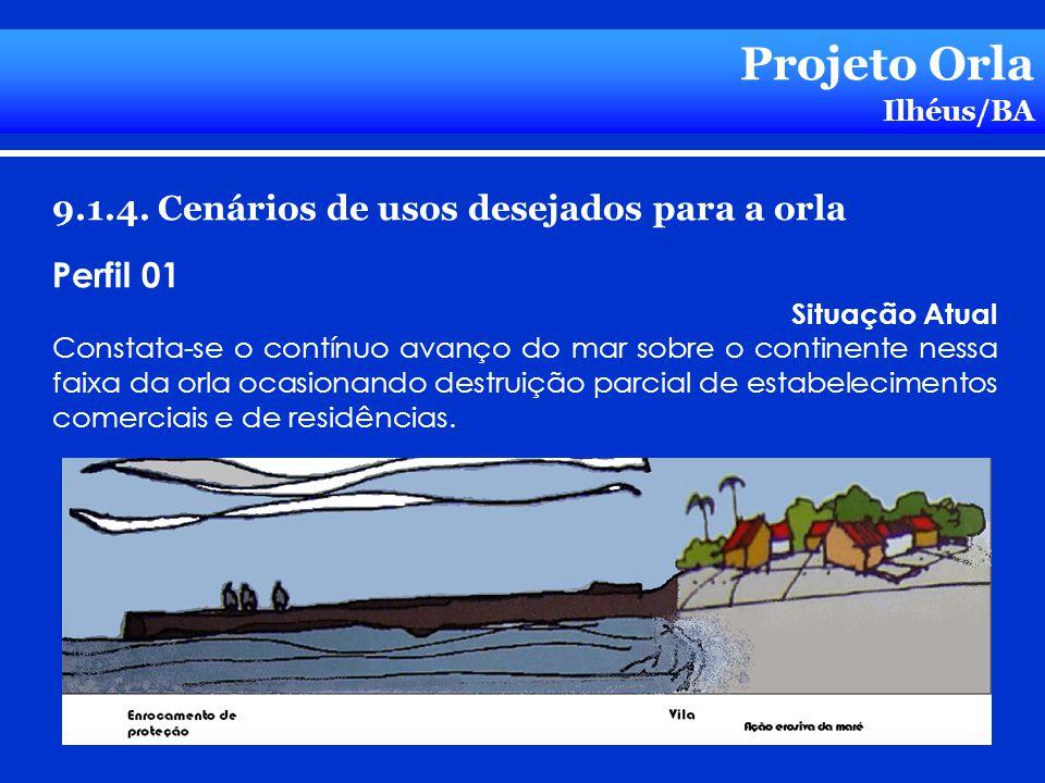 Projeto Orla Ilhéus/BA 9.1.4. Cenários de usos desejados para a orla Perfil 01 Situação Atual Constata-se o contínuo avanço do mar sobre o continente