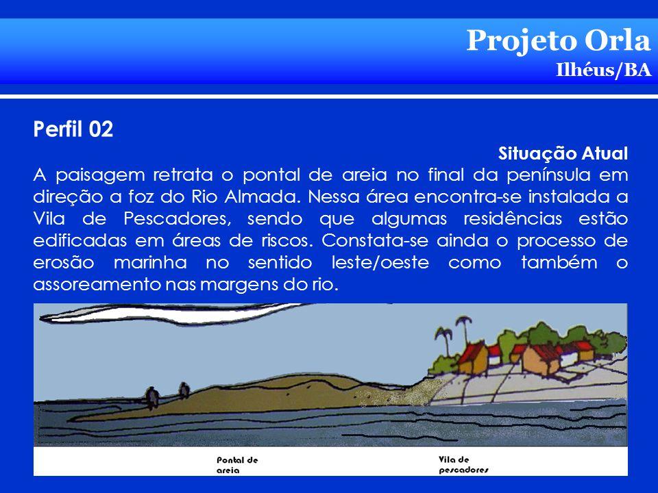 Projeto Orla Ilhéus/BA Perfil 02 Situação Atual A paisagem retrata o pontal de areia no final da península em direção a foz do Rio Almada. Nessa área