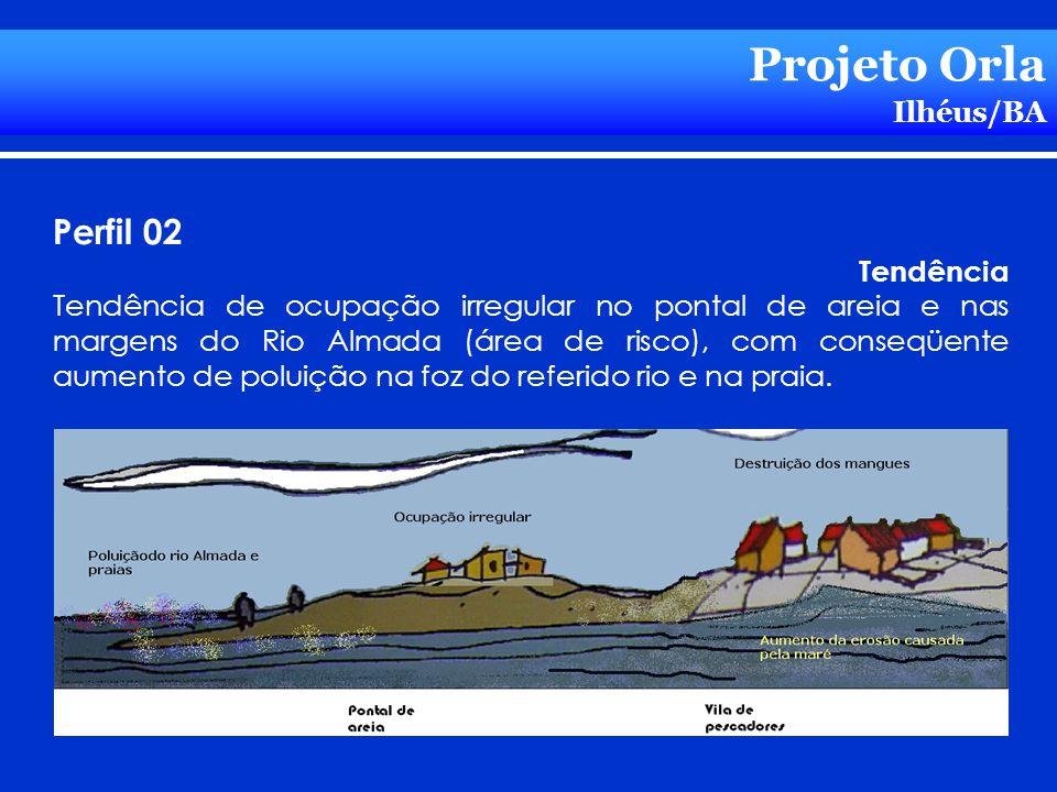 Projeto Orla Ilhéus/BA Perfil 02 Tendência Tendência de ocupação irregular no pontal de areia e nas margens do Rio Almada (área de risco), com conseqü