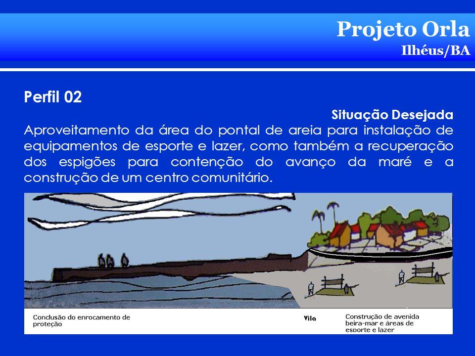 Projeto Orla Ilhéus/BA Perfil 02 Situação Desejada Aproveitamento da área do pontal de areia para instalação de equipamentos de esporte e lazer, como