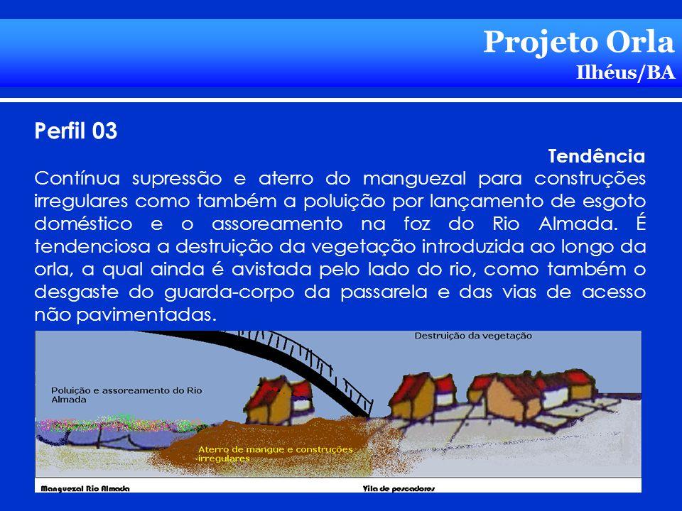 Projeto Orla Ilhéus/BA Perfil 03 Tendência Contínua supressão e aterro do manguezal para construções irregulares como também a poluição por lançamento