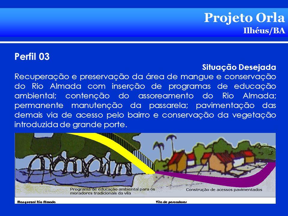 Projeto Orla Ilhéus/BA Perfil 03 Situação Desejada Recuperação e preservação da área de mangue e conservação do Rio Almada com inserção de programas d