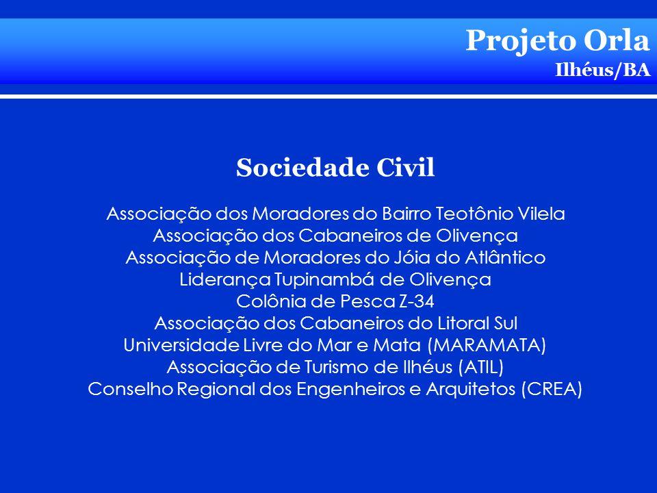 Projeto Orla Ilhéus/BA Sociedade Civil Associação dos Moradores do Bairro Teotônio Vilela Associação dos Cabaneiros de Olivença Associação de Moradore