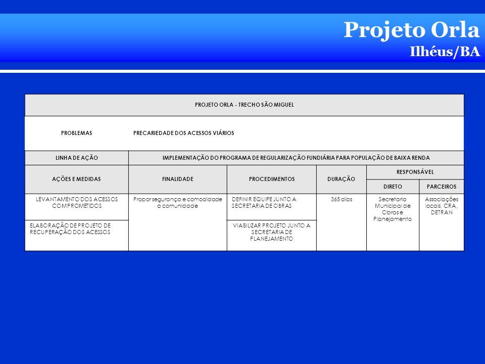 Projeto Orla Ilhéus/BA PROJETO ORLA - TRECHO SÃO MIGUEL PROBLEMASPRECARIEDADE DOS ACESSOS VIÁRIOS LINHA DE AÇÃOIMPLEMENTAÇÃO DO PROGRAMA DE REGULARIZA