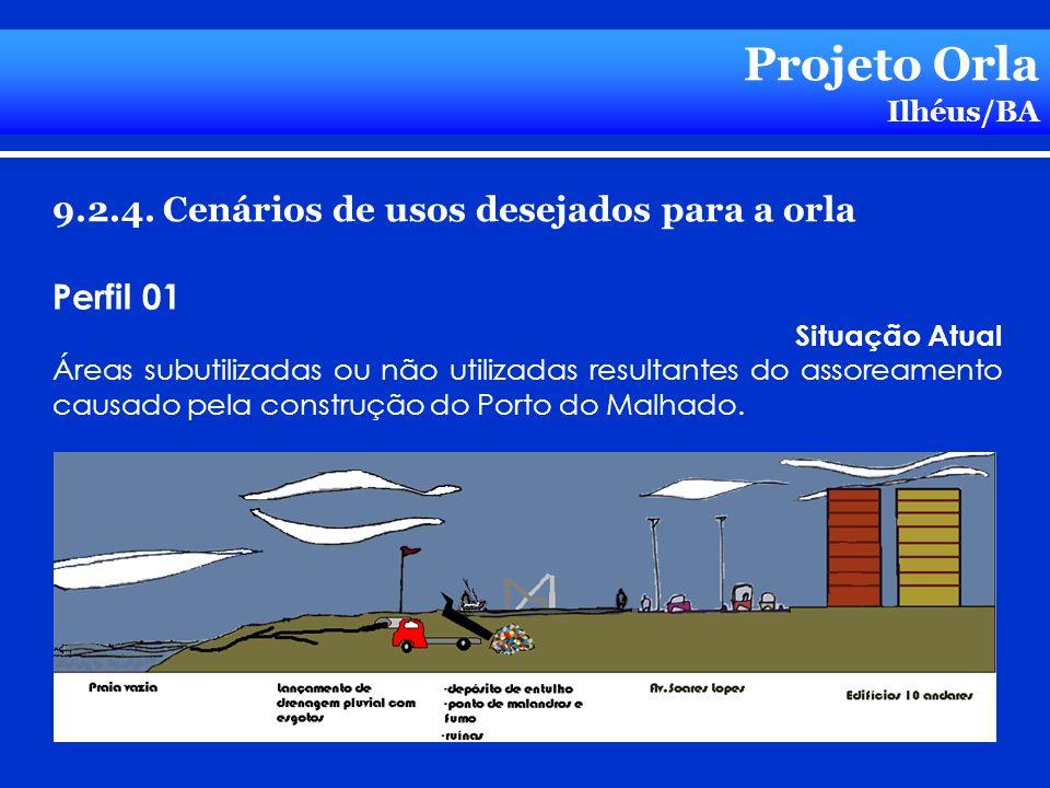 Projeto Orla Ilhéus/BA 9.2.4. Cenários de usos desejados para a orla Perfil 01 Situação Atual Áreas subutilizadas ou não utilizadas resultantes do ass
