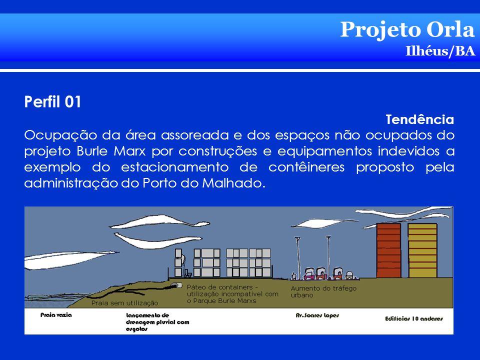 Projeto Orla Ilhéus/BA Perfil 01 Tendência Ocupação da área assoreada e dos espaços não ocupados do projeto Burle Marx por construções e equipamentos