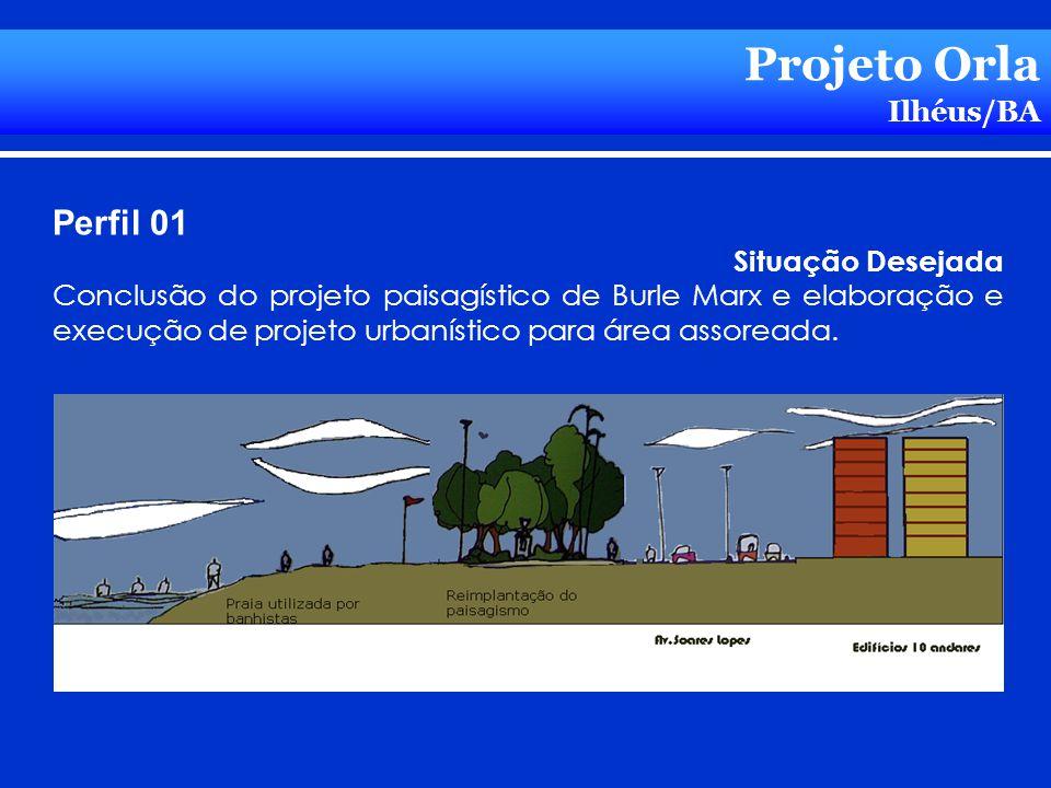 Projeto Orla Ilhéus/BA Perfil 01 Situação Desejada Conclusão do projeto paisagístico de Burle Marx e elaboração e execução de projeto urbanístico para