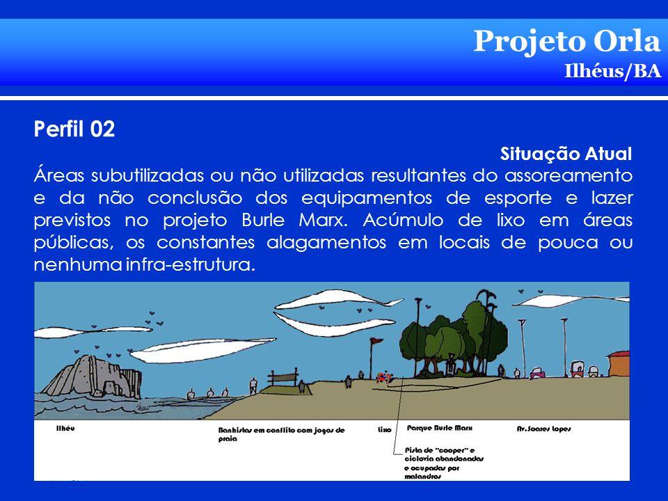 Projeto Orla Ilhéus/BA Perfil 02 Situação Atual Áreas subutilizadas ou não utilizadas resultantes do assoreamento e da não conclusão dos equipamentos