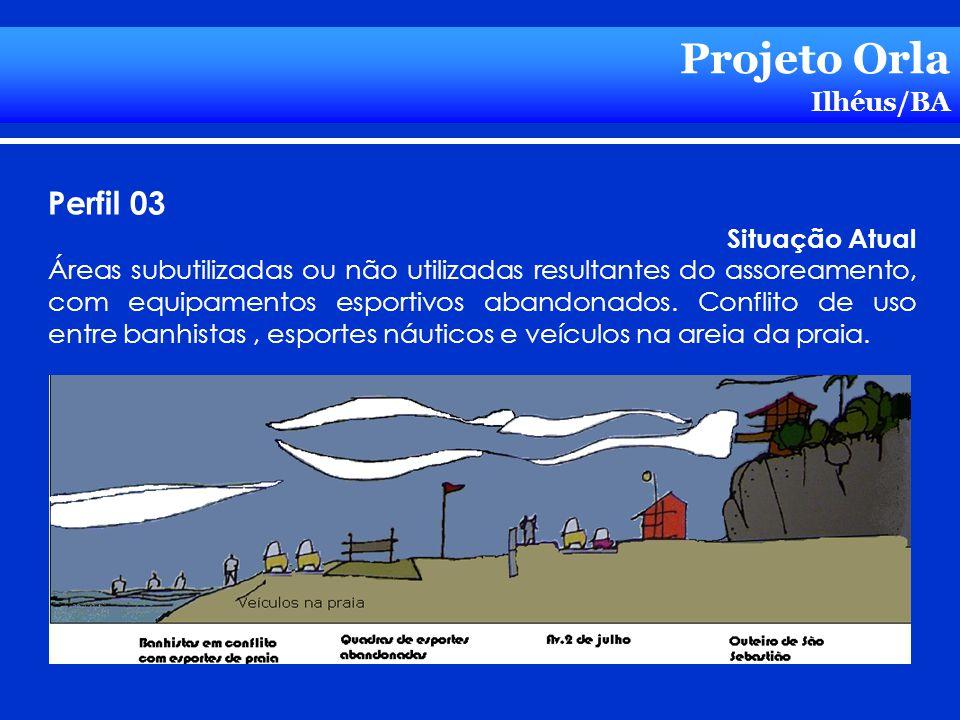 Projeto Orla Ilhéus/BA Perfil 03 Situação Atual Áreas subutilizadas ou não utilizadas resultantes do assoreamento, com equipamentos esportivos abandon