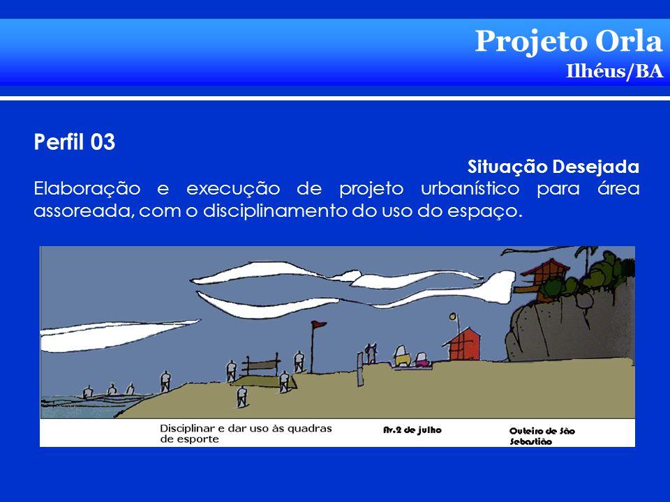 Projeto Orla Ilhéus/BA Perfil 03 Situação Desejada Elaboração e execução de projeto urbanístico para área assoreada, com o disciplinamento do uso do e