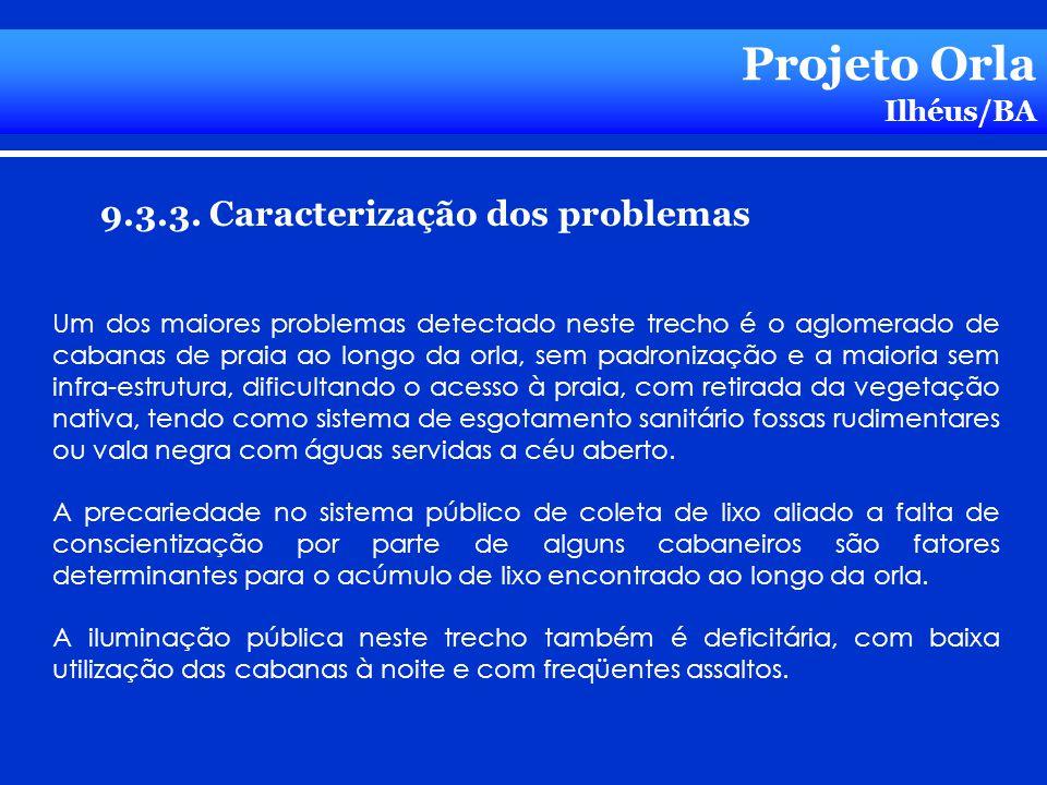Projeto Orla Ilhéus/BA 9.3.3. Caracterização dos problemas Um dos maiores problemas detectado neste trecho é o aglomerado de cabanas de praia ao longo