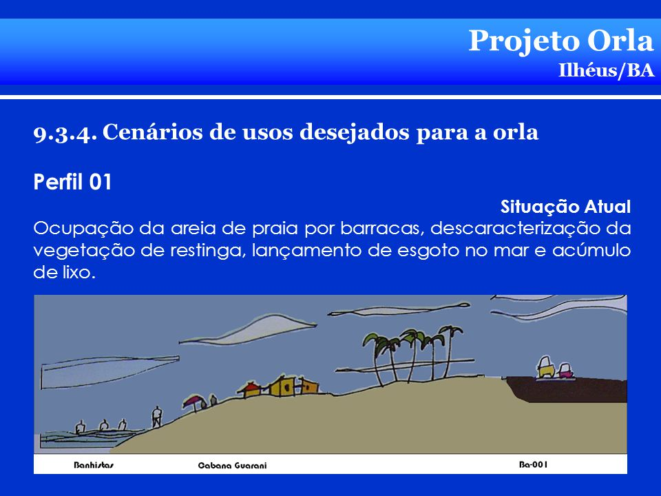 Projeto Orla Ilhéus/BA 9.3.4. Cenários de usos desejados para a orla Perfil 01 Situação Atual Ocupação da areia de praia por barracas, descaracterizaç