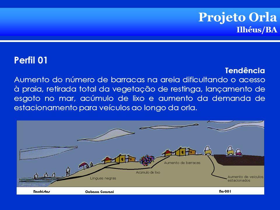 Projeto Orla Ilhéus/BA Perfil 01 Tendência Aumento do número de barracas na areia dificultando o acesso à praia, retirada total da vegetação de restin