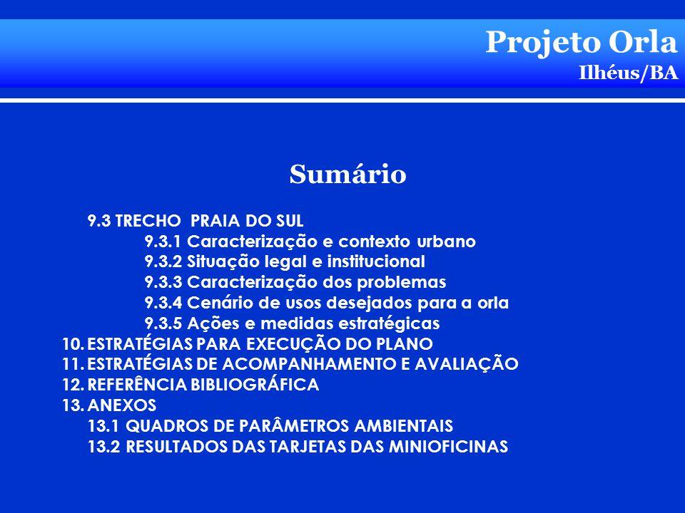 Sumário 9.3 TRECHO PRAIA DO SUL 9.3.1 Caracterização e contexto urbano 9.3.2 Situação legal e institucional 9.3.3 Caracterização dos problemas 9.3.4 C
